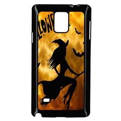 Halloween Wicked Witch Bat Moon Night Samsung Galaxy Note 4 Case (black) by Alisyart