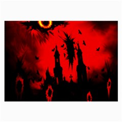 Big Eye Fire Black Red Night Crow Bird Ghost Halloween Large Glasses Cloth (2 Side) by Alisyart