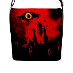 Big Eye Fire Black Red Night Crow Bird Ghost Halloween Flap Messenger Bag (l)  by Alisyart