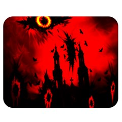 Big Eye Fire Black Red Night Crow Bird Ghost Halloween Double Sided Flano Blanket (medium)  by Alisyart