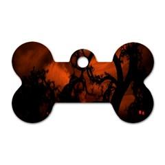 Halloween Pumpkins Tree Night Black Eye Jungle Moon Dog Tag Bone (two Sides) by Alisyart