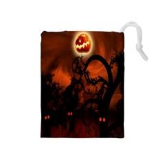 Halloween Pumpkins Tree Night Black Eye Jungle Moon Drawstring Pouches (medium)  by Alisyart