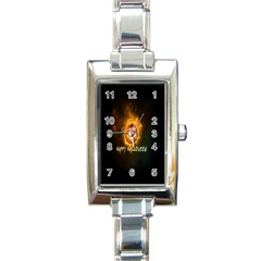 Happy Halloween Pumpkins Face Smile Face Ghost Night Rectangle Italian Charm Watch by Alisyart