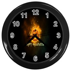 Happy Halloween Pumpkins Face Smile Face Ghost Night Wall Clocks (black) by Alisyart