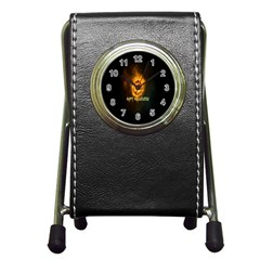 Happy Halloween Pumpkins Face Smile Face Ghost Night Pen Holder Desk Clocks by Alisyart