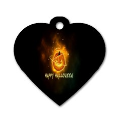 Happy Halloween Pumpkins Face Smile Face Ghost Night Dog Tag Heart (two Sides) by Alisyart