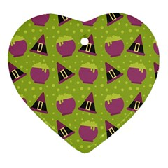 Hat Formula Purple Green Polka Dots Heart Ornament (two Sides) by Alisyart