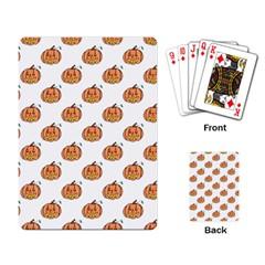 Face Mask Ghost Halloween Pumpkin Pattern Playing Card by Alisyart