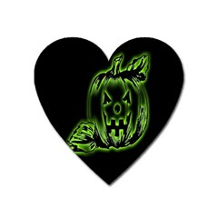 Pumpkin Black Halloween Neon Green Face Mask Smile Heart Magnet by Alisyart