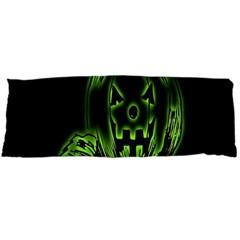 Pumpkin Black Halloween Neon Green Face Mask Smile Body Pillow Case Dakimakura (two Sides) by Alisyart