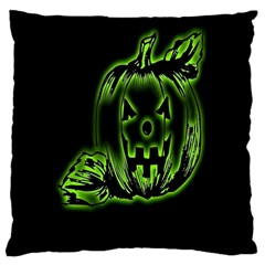 Pumpkin Black Halloween Neon Green Face Mask Smile Large Cushion Case (two Sides) by Alisyart
