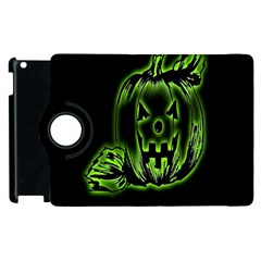 Pumpkin Black Halloween Neon Green Face Mask Smile Apple Ipad 3/4 Flip 360 Case by Alisyart