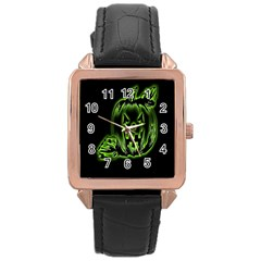 Pumpkin Black Halloween Neon Green Face Mask Smile Rose Gold Leather Watch  by Alisyart