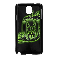 Pumpkin Black Halloween Neon Green Face Mask Smile Samsung Galaxy Note 3 Neo Hardshell Case (black) by Alisyart