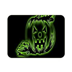 Pumpkin Black Halloween Neon Green Face Mask Smile Double Sided Flano Blanket (mini)  by Alisyart