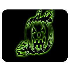 Pumpkin Black Halloween Neon Green Face Mask Smile Double Sided Flano Blanket (medium)  by Alisyart