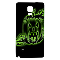 Pumpkin Black Halloween Neon Green Face Mask Smile Galaxy Note 4 Back Case by Alisyart