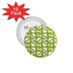 Skull Bone Mask Face White Green 1 75  Buttons (10 Pack) by Alisyart