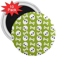 Skull Bone Mask Face White Green 3  Magnets (10 Pack)  by Alisyart