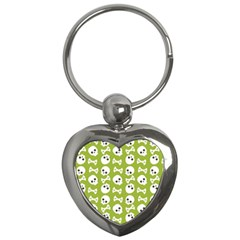Skull Bone Mask Face White Green Key Chains (heart)  by Alisyart