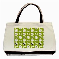 Skull Bone Mask Face White Green Basic Tote Bag by Alisyart