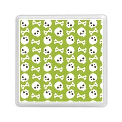 Skull Bone Mask Face White Green Memory Card Reader (square)  by Alisyart