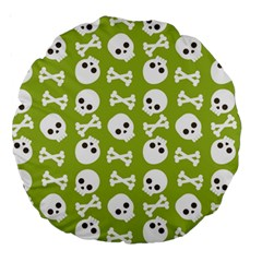 Skull Bone Mask Face White Green Large 18  Premium Round Cushions by Alisyart