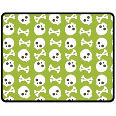 Skull Bone Mask Face White Green Double Sided Fleece Blanket (medium)  by Alisyart