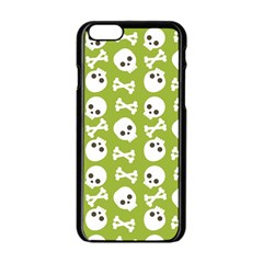 Skull Bone Mask Face White Green Apple Iphone 6/6s Black Enamel Case by Alisyart