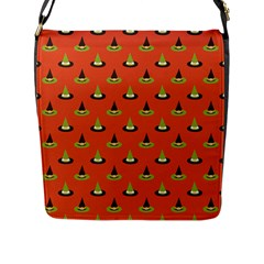 Hat Wicked Witch Ghost Halloween Red Green Black Flap Messenger Bag (l)  by Alisyart