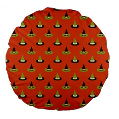 Hat Wicked Witch Ghost Halloween Red Green Black Large 18  Premium Flano Round Cushions by Alisyart