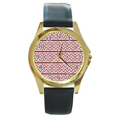 Red Flower Star Patterned Round Gold Metal Watch by Alisyart