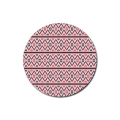 Red Flower Star Patterned Rubber Round Coaster (4 Pack)  by Alisyart