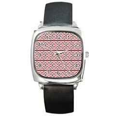 Red Flower Star Patterned Square Metal Watch by Alisyart