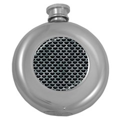 Scales3 Black Marble & Ice Crystals (r) Round Hip Flask (5 Oz) by trendistuff