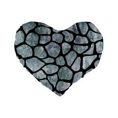 Skin1 Black Marble & Ice Crystals (r) Standard 16  Premium Flano Heart Shape Cushions by trendistuff
