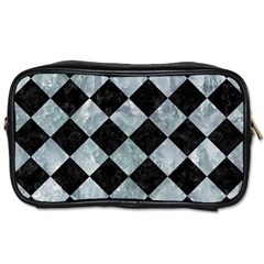 Square2 Black Marble & Ice Crystals Toiletries Bags 2 Side by trendistuff