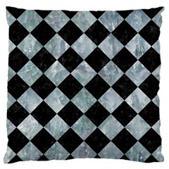 Square2 Black Marble & Ice Crystals Large Flano Cushion Case (one Side) by trendistuff