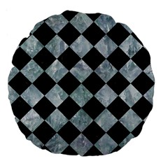 Square2 Black Marble & Ice Crystals Large 18  Premium Flano Round Cushions by trendistuff
