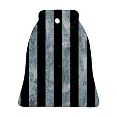 Stripes1 Black Marble & Ice Crystals Ornament (bell) by trendistuff
