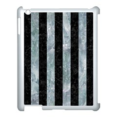 Stripes1 Black Marble & Ice Crystals Apple Ipad 3/4 Case (white) by trendistuff