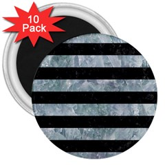 Stripes2 Black Marble & Ice Crystals 3  Magnets (10 Pack)  by trendistuff