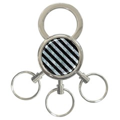 Stripes3 Black Marble & Ice Crystals 3 Ring Key Chains by trendistuff