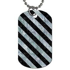 Stripes3 Black Marble & Ice Crystals Dog Tag (one Side) by trendistuff