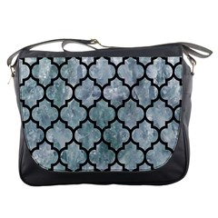 Tile1 Black Marble & Ice Crystals Messenger Bags by trendistuff