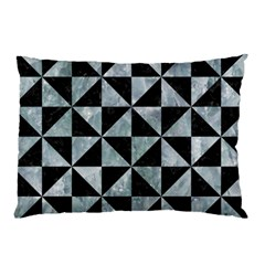 Triangle1 Black Marble & Ice Crystals Pillow Case (two Sides) by trendistuff