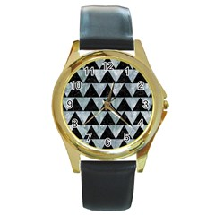 Triangle2 Black Marble & Ice Crystals Round Gold Metal Watch by trendistuff