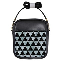 Triangle3 Black Marble & Ice Crystals Girls Sling Bags by trendistuff