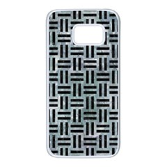 Woven1 Black Marble & Ice Crystals Samsung Galaxy S7 White Seamless Case by trendistuff