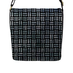 Woven1 Black Marble & Ice Crystals (r) Flap Messenger Bag (l)  by trendistuff